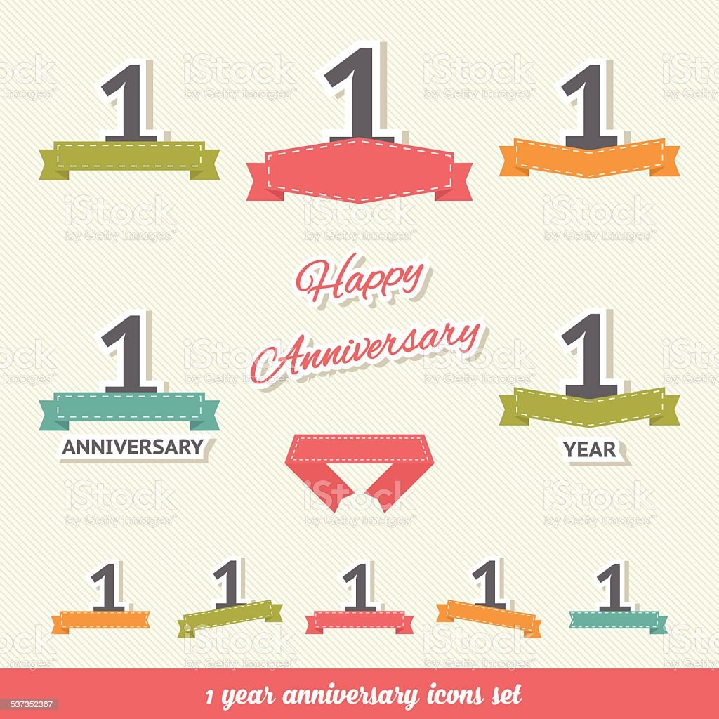 One year anniversary icons collection vector art illustration