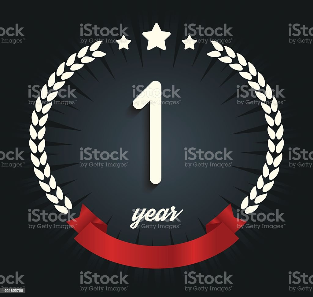 one year anniversary logotype 1st anniversary logo stock illustration download image now istock 2