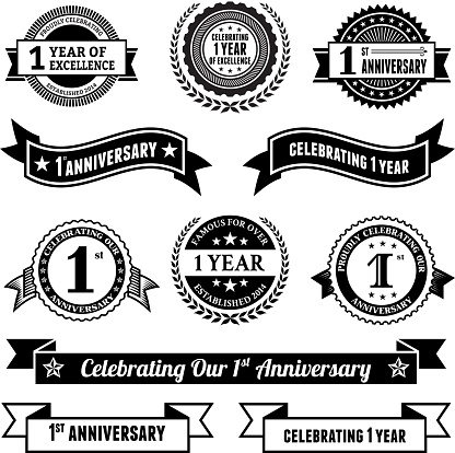 One year anniversary vector badge set royalty free vector background