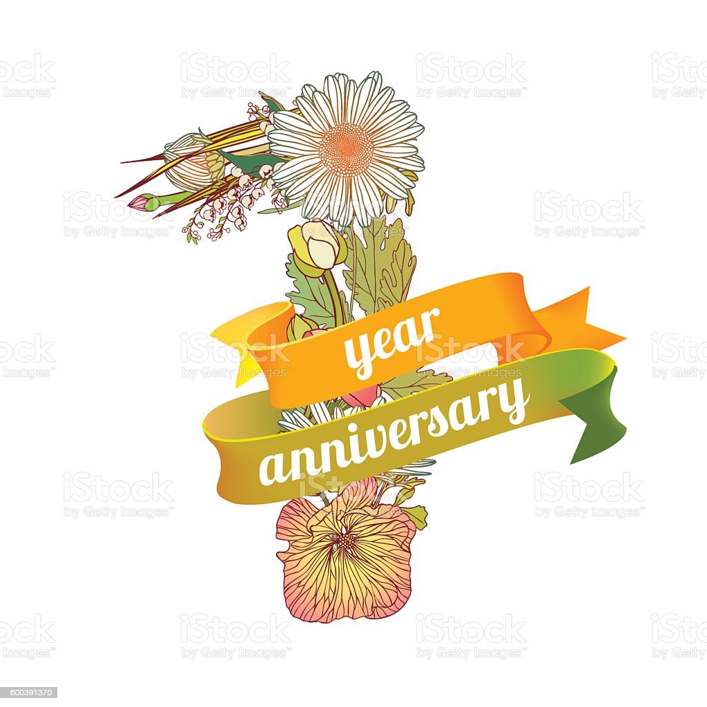One Year Anniversary Stock Illustration Download Image Now Istock