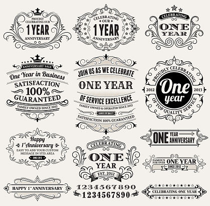 one year hand-drawn royalty free vector background on paper