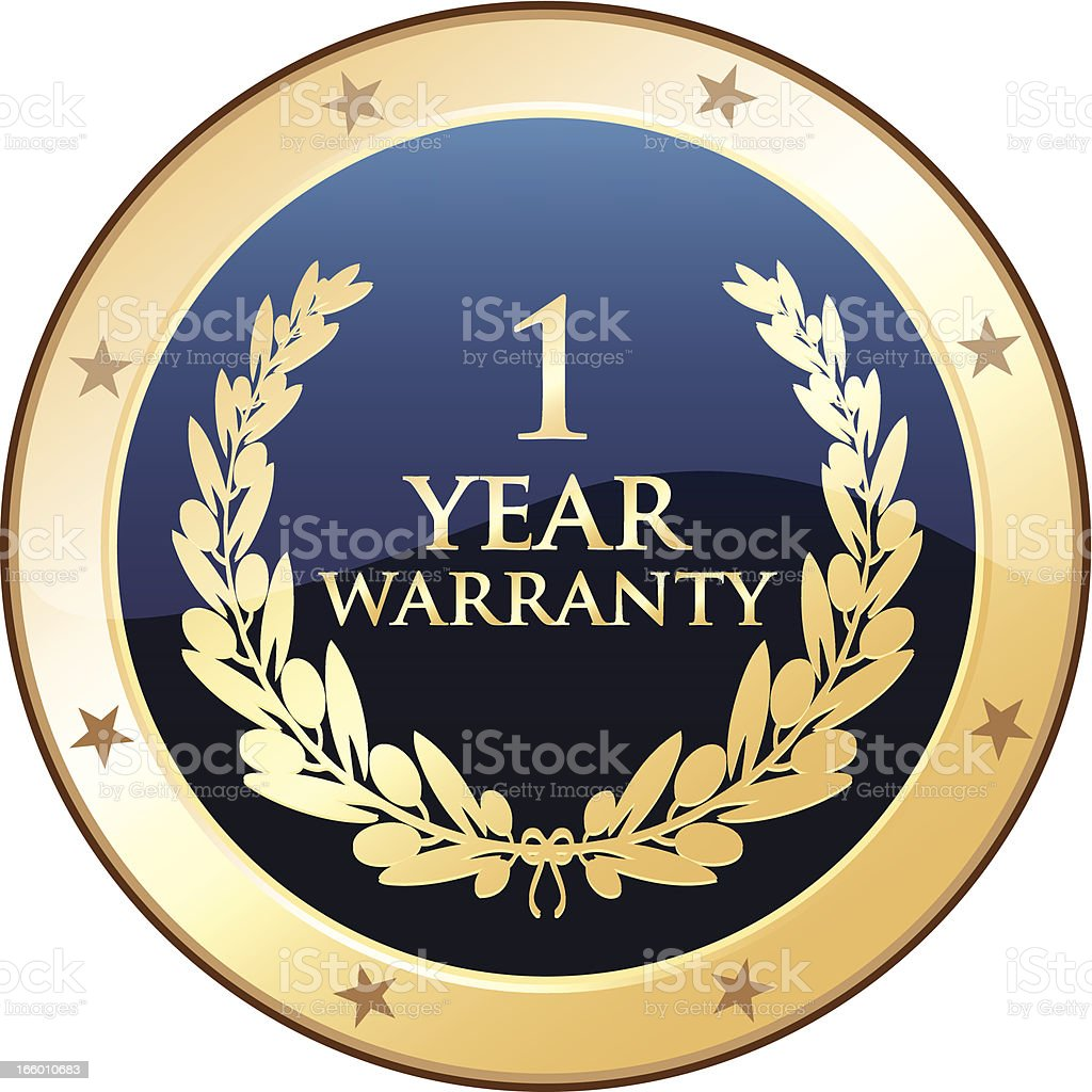 One Year Warranty Shield royalty-free stock vector art