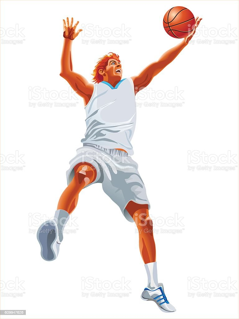 One young man basketball player silhouette isolated on white background vector art illustration