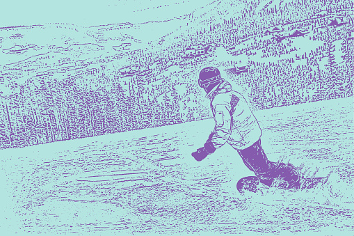 One young man snowboarding on a Montana mountain