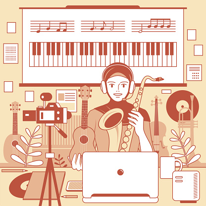 One young Muslim female teacher (musician, streamer) with hijab and headphones is remotely teaching music (online class) using a laptop and camera and whiteboard at home (classroom), e-learning and telecommuting concept