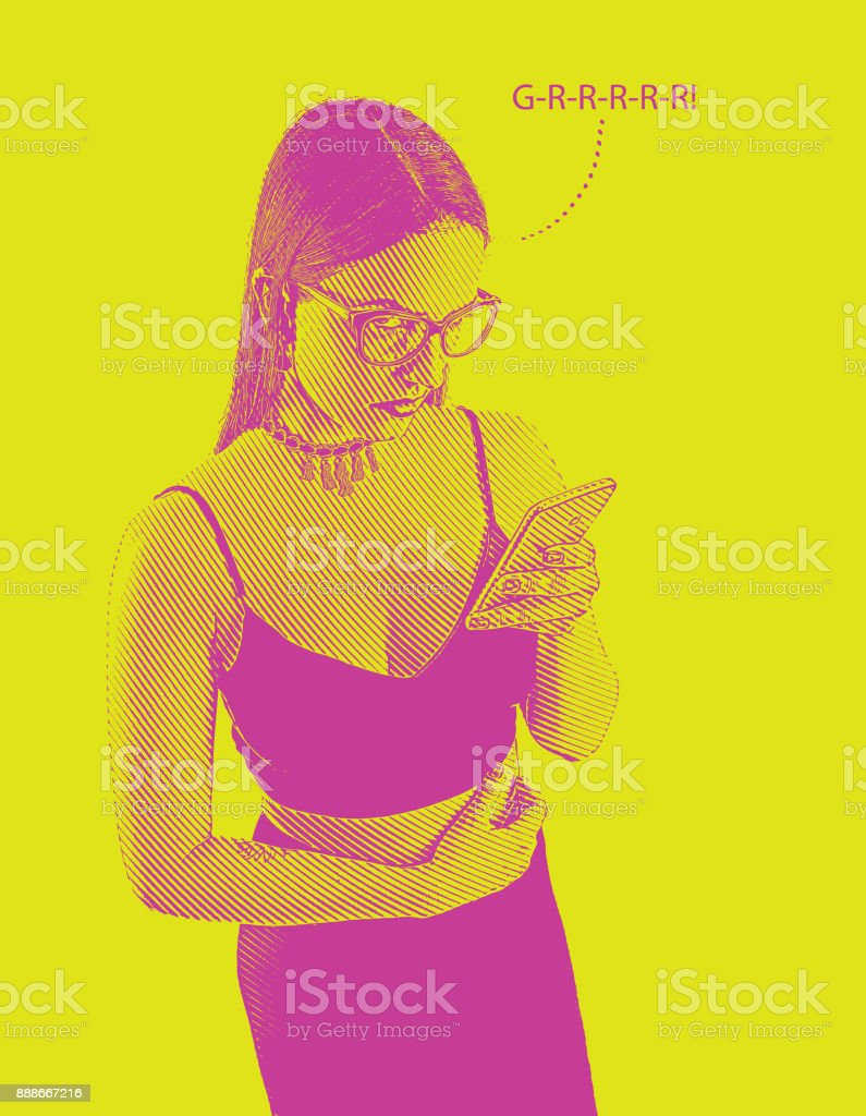 One young woman sending angry text on smart phone. vector art illustration