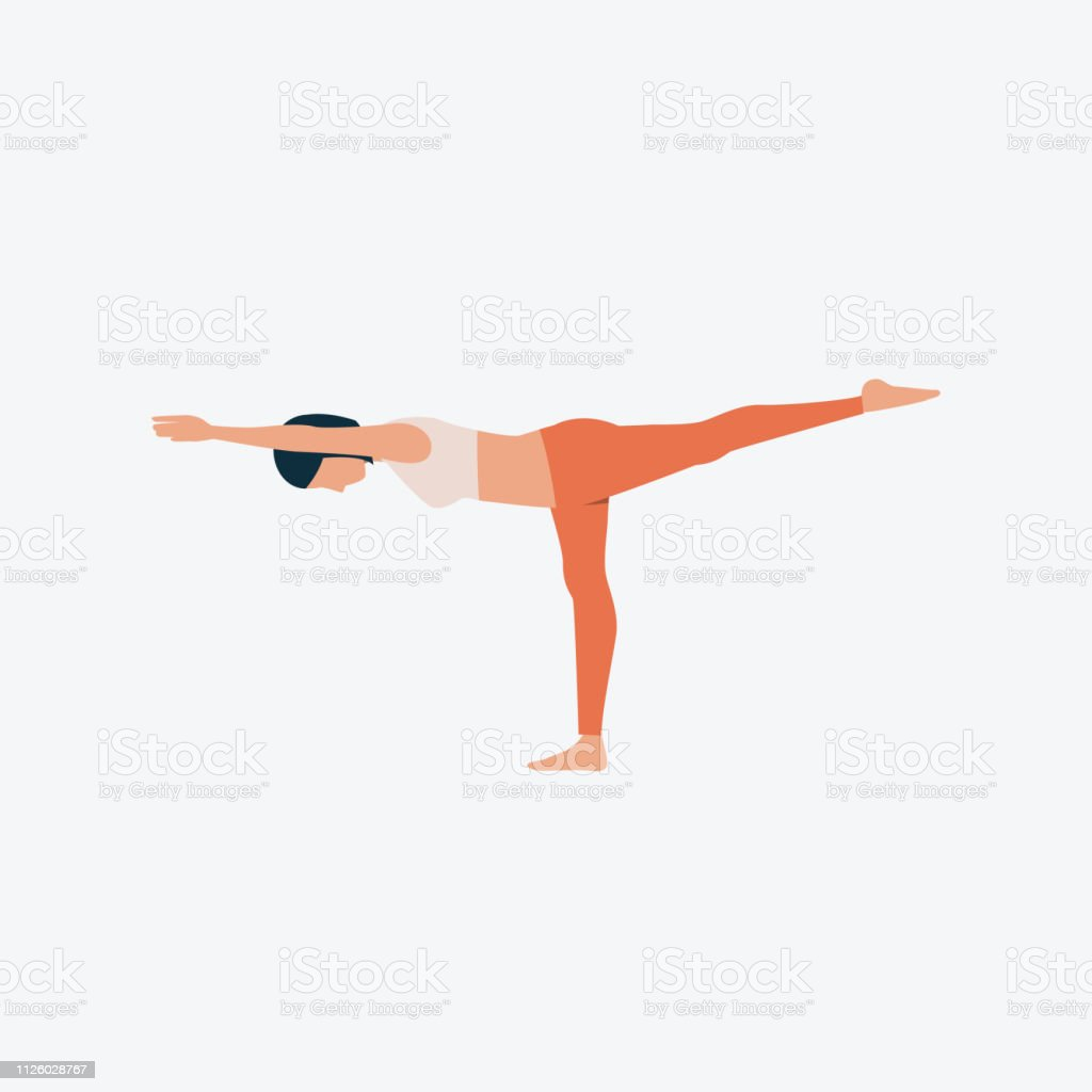 Onelegbalance Pose Flach Symbol Stock Vektor Art und mehr Bilder ...