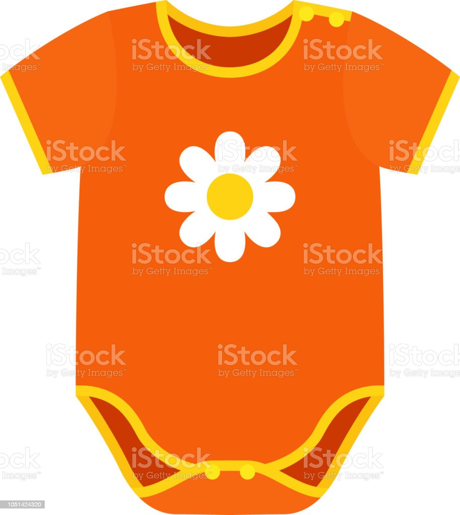 Bodies bébé tissu Design plat. Illustration de vecteur de dessin animé. bodies  bébé tissu 53e01c27821