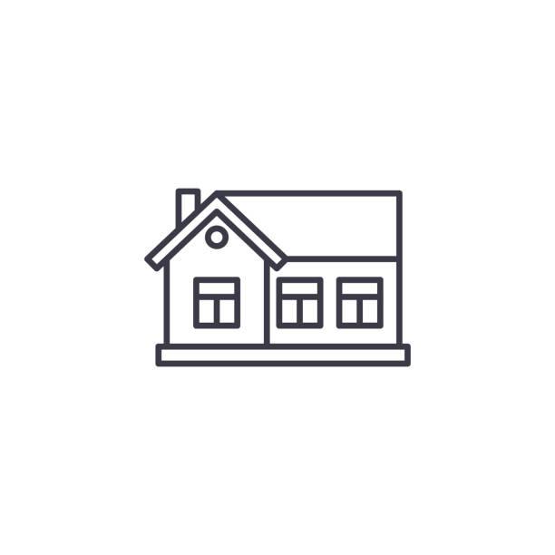 一層樓的線性圖示概念。一層房子線向量符號, 符號, 插圖。向量藝術插圖