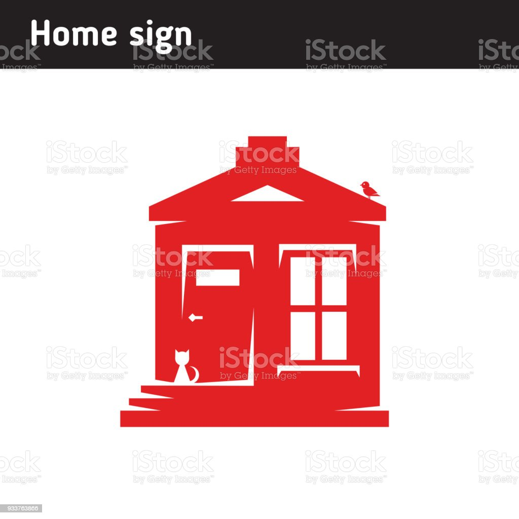 Onestorey House Symbol A Cat On The Porch A Bird On The Roof Stock