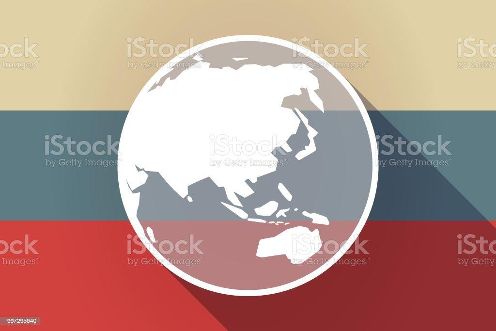 Carte Geographique Asie Pacifique.Ong Ombre Russie Drapeau Avec Une Carte Du Globe Monde Asie