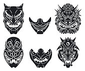 Oni and kabuki masks vector cartoon set.