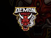 Oni demon mascot sport logo design. Oni mask mascot vector illustration logo. Evil mascot design, Emblem design for esports team. Vector illustration