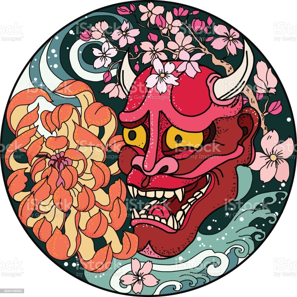 Oni mask with Sakura and Peony flower vector art illustration