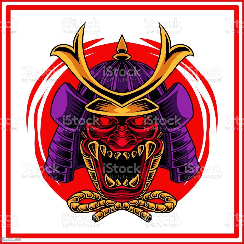 Vetores De Oni Samurai Cabeca Mascote Design De Logotipo E Mais Imagens De Animal Istock