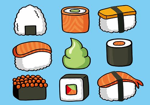 onigiri and sushi seamless doodle pattern