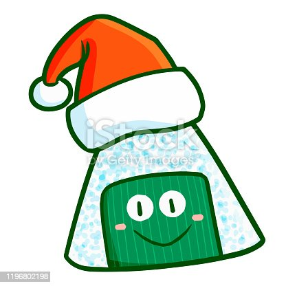 istock onigiri character smiling  wearing Santa's hat for christmas 1196802198