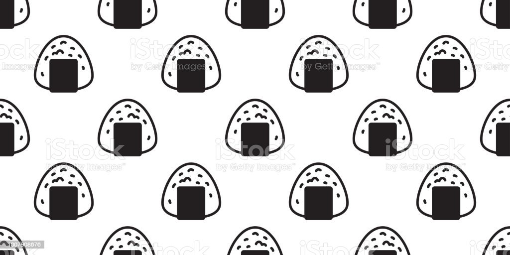 Onigiri Seamless Pattern Vector Sushi Japanese Food Tile