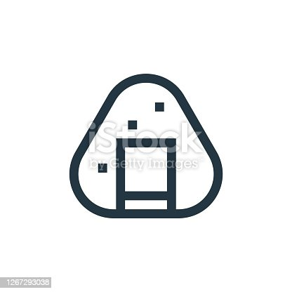 istock onigiri vector icon isolated on white background. Outline, thin line onigiri icon for website design and mobile, app development. Thin line onigiri outline icon vector illustration. 1267293038