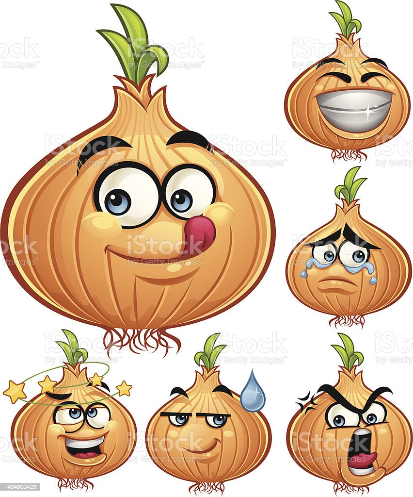 Onion Cartoon Set A vector art illustration