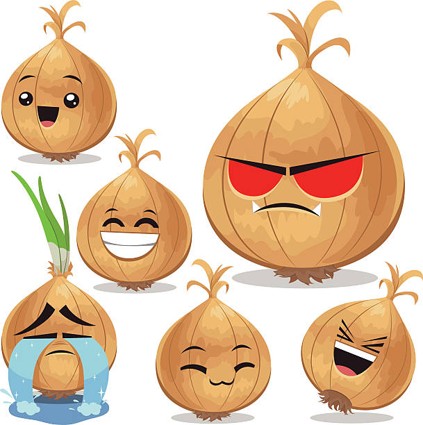 onion cartoon set b - onion stock illustrations