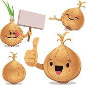 Cartoon onion set including: