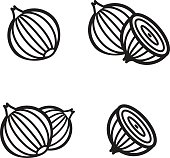 Onion icon in four variations. Vector illustration eps 10.