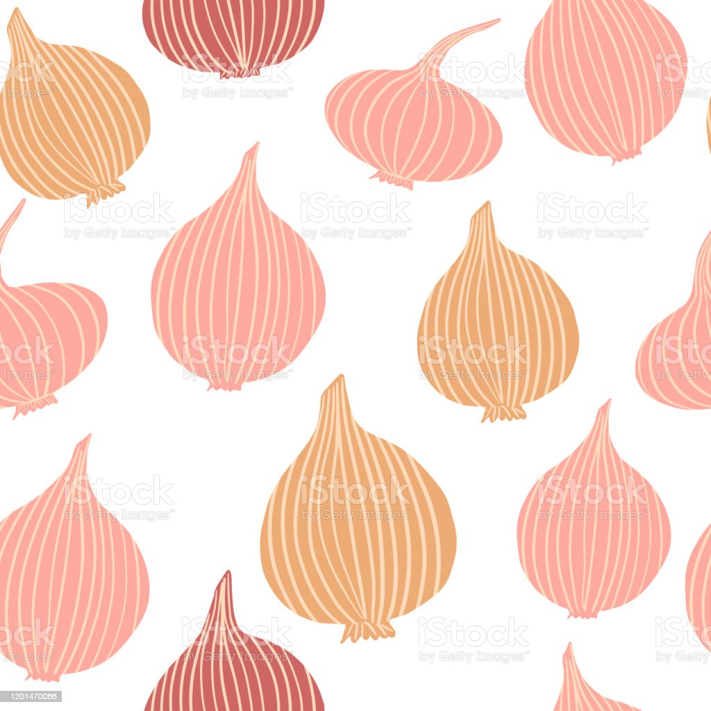 Onion In Doodle Style Seamless Pattern On White Background Hand Drawn Onion Bulb Vegetable Wallpaper Stock Illustration Download Image Now Istock