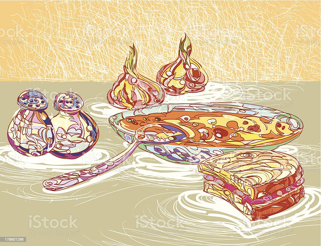 Onion soup royalty-free stock vector art