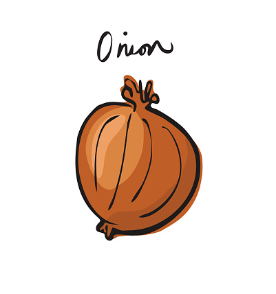 Onion with handwritten font