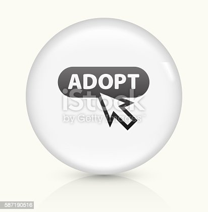 Online Adoption Icon on simple white round button. This 100% royalty free vector button is circular in shape and the icon is the primary subject of the composition. There is a slight reflection visible at the bottom.