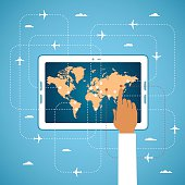 Online air ticket booking and global travel vector concept