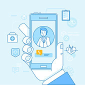 Vector illustration in linear flat style and blue colors - online and tele medicine concept - hand holding mobile phone with app for healthcare - online consultation with doctor