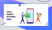 Online App for Shopping, E-Commerce Sales Landing Page Template. Businessman Character Enter Credit Card to Smartphone for Wireless Payment, Woman Carry Purchases. Cartoon People Vector Illustration