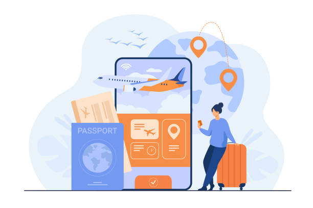 Online app for tourism Online app for tourism. Traveler with mobile phone and passport booking or buying plane ticket. Flat illustration for vacation, digital technology, trip concept wildlife reserve stock illustrations