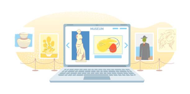 illustrations, cliparts, dessins animés et icônes de bannière de galerie d'art en ligne. musée virtuel dans l'ordinateur portable moderne isolé sur le fond blanc. exposition en ligne tours, technologie internet. loisirs à domicile sur les appareils mobiles. concept de vecteur de tourisme web - museum