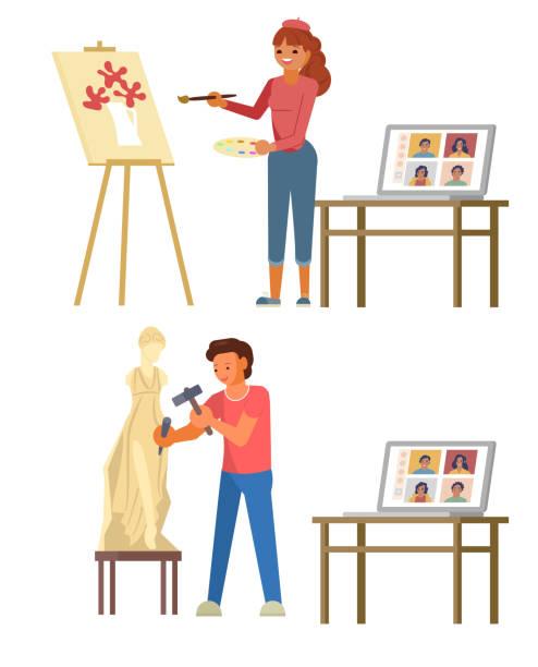 illustrazioni stock, clip art, cartoni animati e icone di tendenza di online art masterclass, vector flat style design illustration - uomo artigiano gioielli