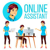 Online Assistant Asian Woman Vector. User Support Service. Hotline Operator. Illustration