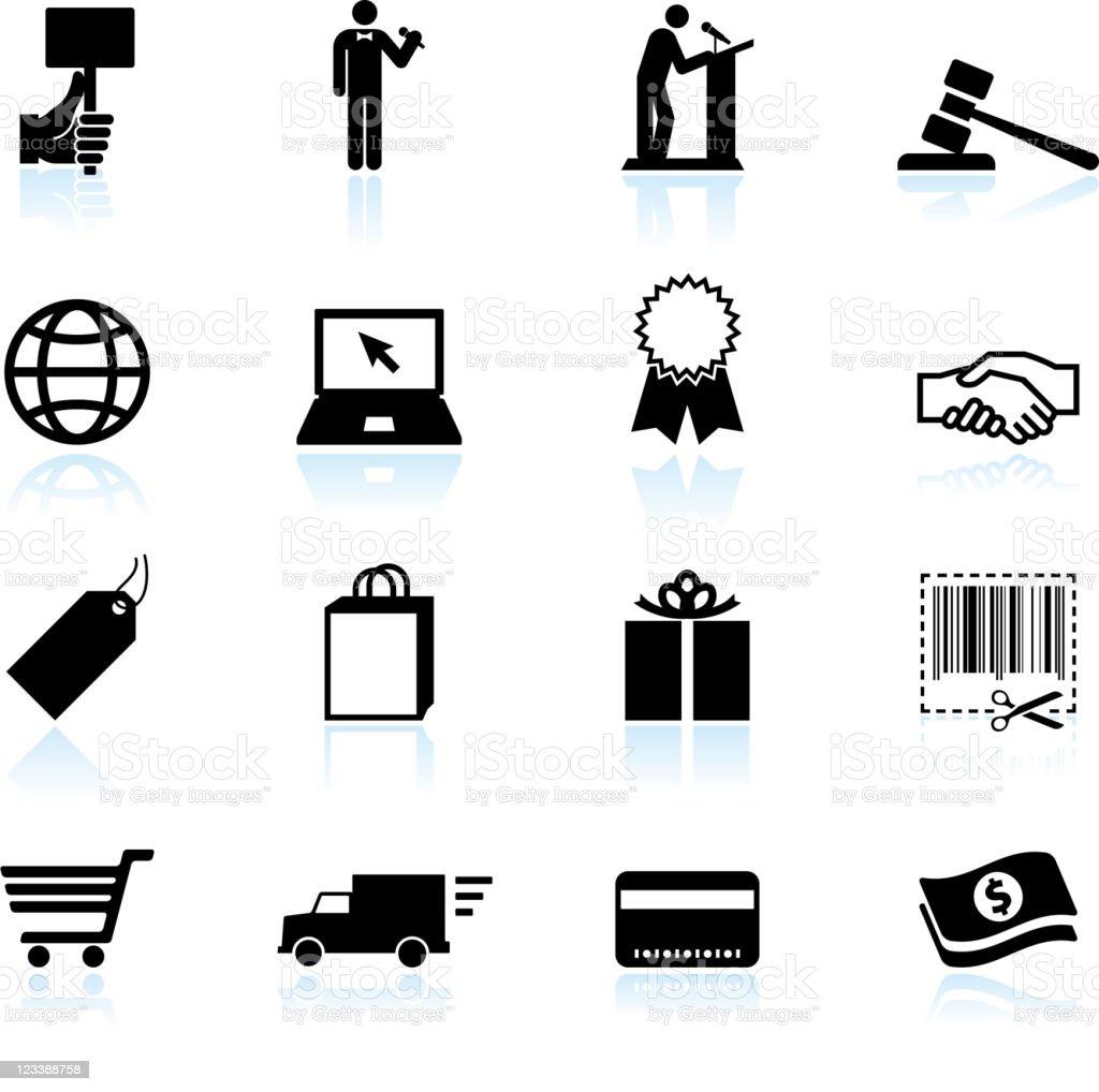 Online Auktion Und Ecommerce Schwarzweiß Vektor Iconset Stock Vektor ...