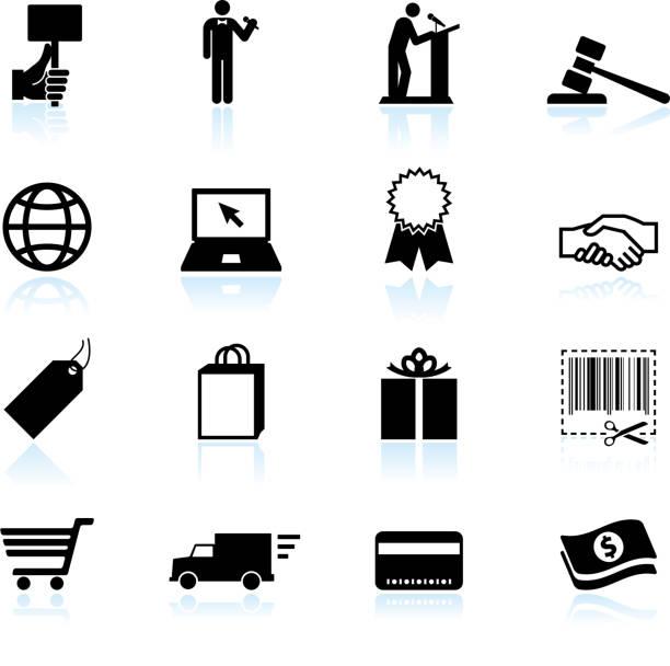 illustrazioni stock, clip art, cartoni animati e icone di tendenza di asta online di commercio elettronico & bianco e nero icona set vettoriale - organizzatore della festa