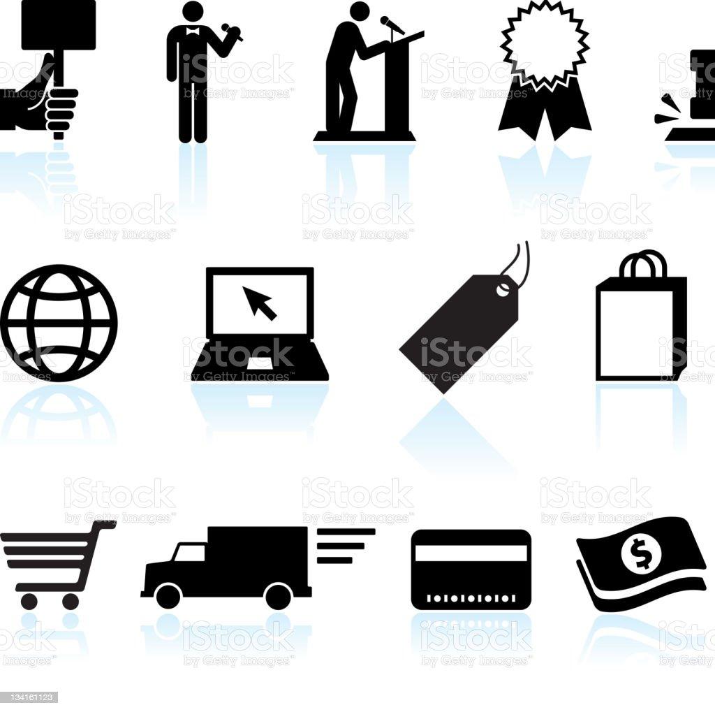 d1c0791c8d Asta Online di commercio elettronico & bianco e nero icona set vettoriale  asta online di commercio
