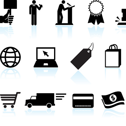 Online auction and e-commerce black & white vector icon set