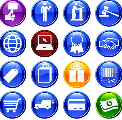 Online auction and e-commerce royalty free vector icon set