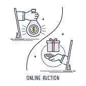 Hand drawn line icon hand with money and gift box symbol for online auction compositions. Modern style vector illustration concept.