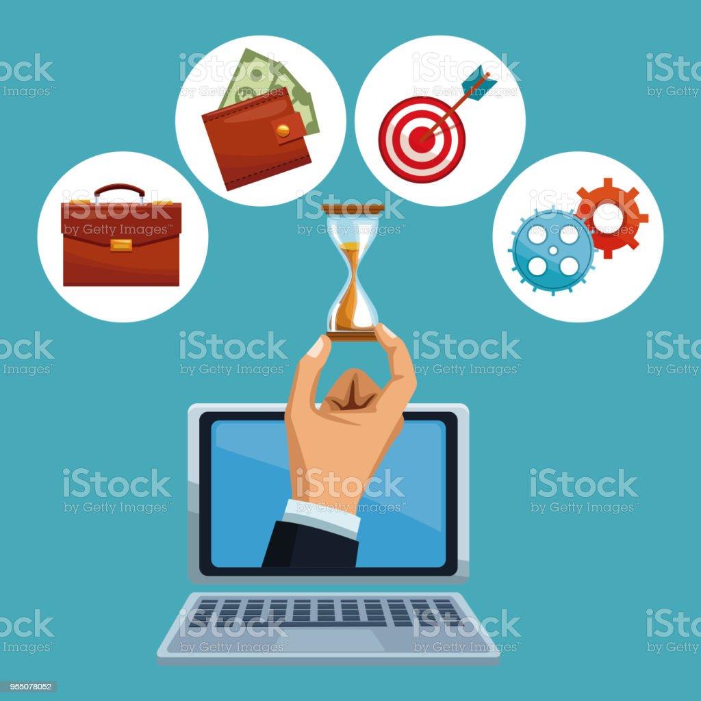 Servicios bancarios en línea - ilustración de arte vectorial