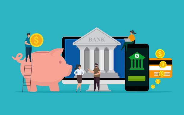 Online banking and finance concept. Bank deposit. vector art illustration