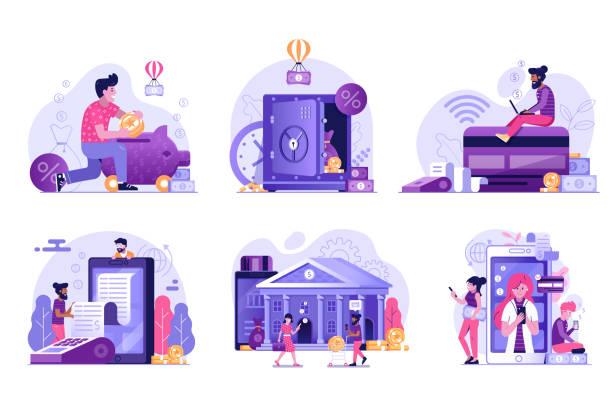 ilustrações, clipart, desenhos animados e ícones de online banking e serviços de pagamento ilustrações - banco edifício financeiro