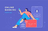 Online banking app and red credit card. Flat vector illustration of smiling woman sitting on a big credit card with bank mobile app and smartphone behind her for user login and business accounting