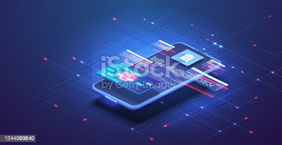 istock Online banking app landing page. Smart wallet concept with credit, debit card payment application. Gadget of the future, smartphone tech payment. Flat Isometric vector illustration. E-payment screen 1244089840