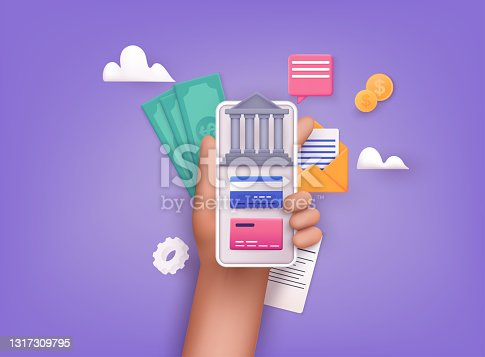 istock Online banking app on a mobile phone screen. nternet banking, purchasing and transaction, electronic funds transfers and bank wire transfer. 3D Vector Illustrations. 1317309795